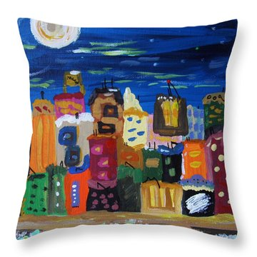 Moon And Sea Waves Throw Pillow