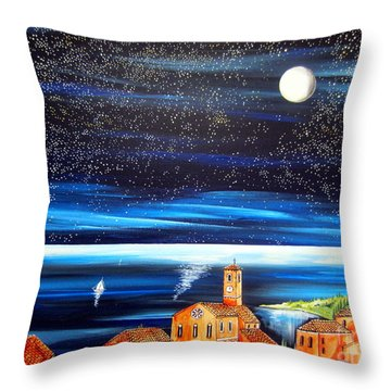 Moon And Stars Over The Village  Throw Pillow