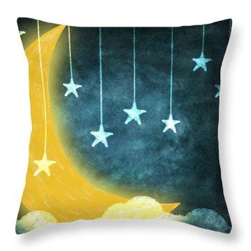 Moon And Stars Throw Pillow by Setsiri Silapasuwanchai