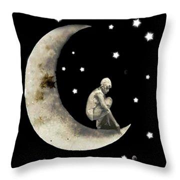 Moon And Stars T Shirt Design Throw Pillow
