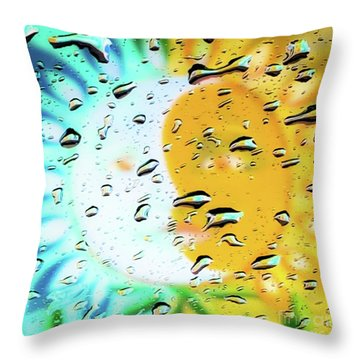 Moon And Sun Rainy Day Windowpane Throw Pillow