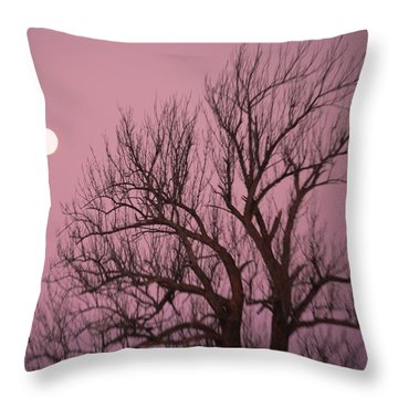 Moon And Tree Throw Pillow