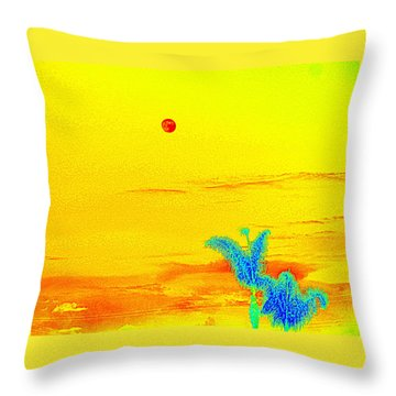Moon And Two Palms Throw Pillow