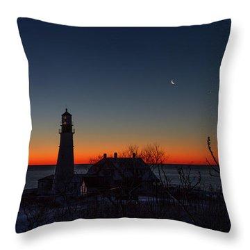 Moon And Venus - Headlight Sunrise Throw Pillow