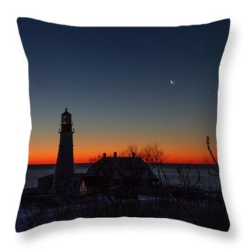 Moon And Venus - Headlight Sunrise Throw Pillow