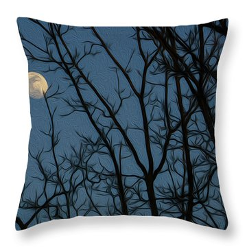 Moon At Dusk Through Trees - Impressionism Throw Pillow