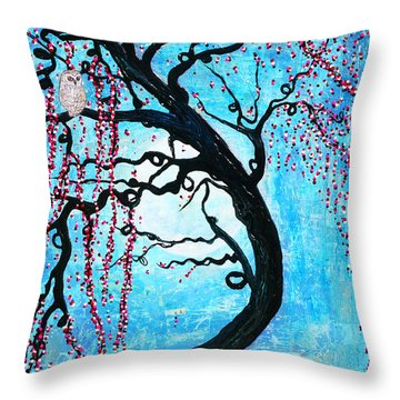 Throw Pillow featuring the mixed media Moon Blossoms by Natalie Briney
