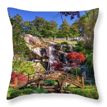 Moon Bridge And Maymont Falls Throw Pillow