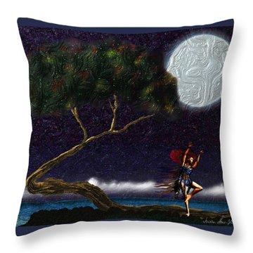 Throw Pillow featuring the digital art Moon Dancer by Iowan Stone-Flowers
