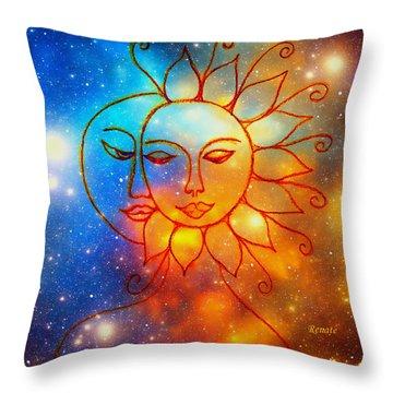 Moon Do You Love Me Asks The Sun... Throw Pillow