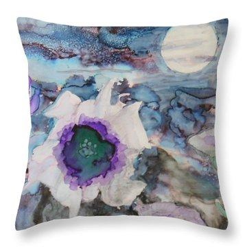 Moon Flower In Bloom Throw Pillow
