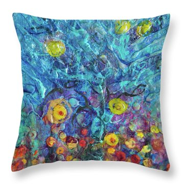 Moon Flowers Throw Pillow