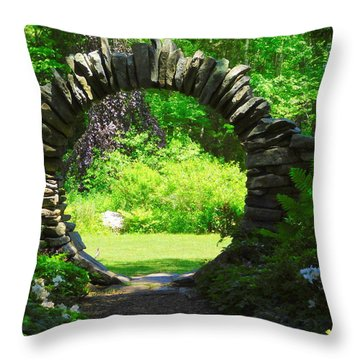 Moon Gate At Kinney Azalea Gardens Throw Pillow