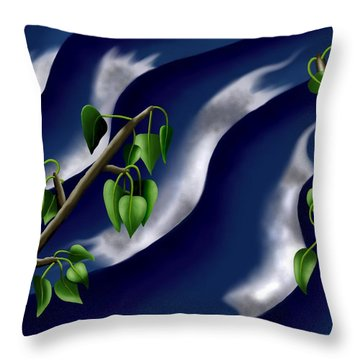 Moon-glow I - Poplars Over Water At Night Throw Pillow
