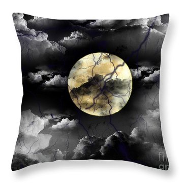 Moon In The Storm Throw Pillow