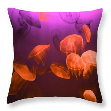 Moon Jellyfish - Red And Purple Throw Pillow