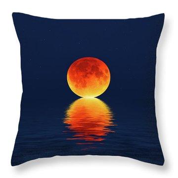 Moon Kissing The Sea Throw Pillow