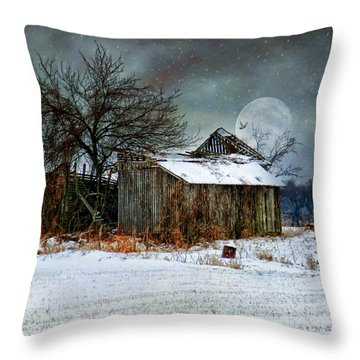 Moon Light Barn Throw Pillow