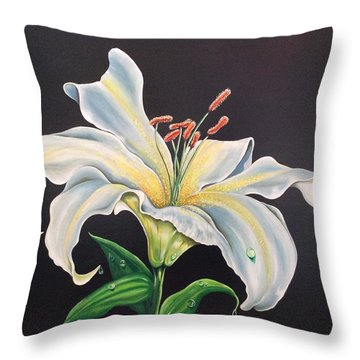 Moon Light Lilly Throw Pillow