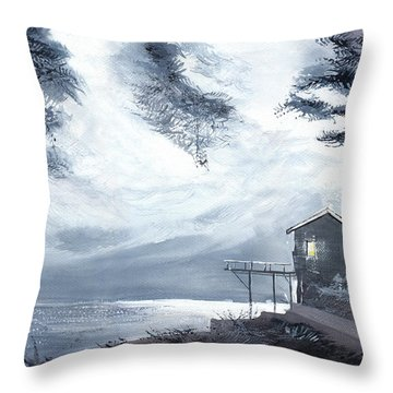 Throw Pillow featuring the painting Moon Light New by Anil Nene