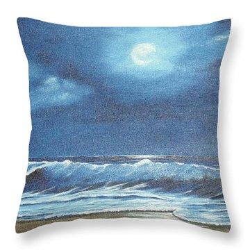 Moon Light Night In Paradise Throw Pillow