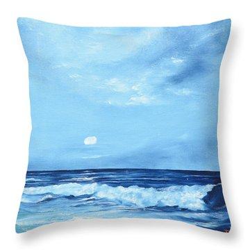 Moon Light Night Wave Throw Pillow
