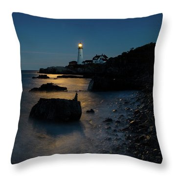 Throw Pillow featuring the photograph Moon Light Over The Lighthouse  by Emmanuel Panagiotakis