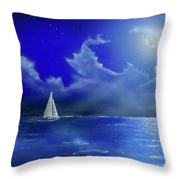 Throw Pillow featuring the painting Moon Light Sail by Mary Scott