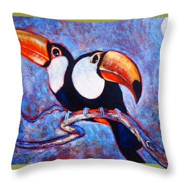 Moon Light Toucans Two Throw Pillow