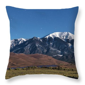 Moon Lit Colorado Great Sand Dunes Starry Night  Throw Pillow by James BO Insogna