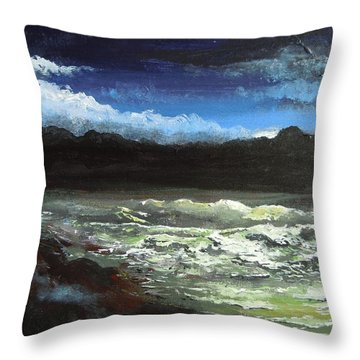 Throw Pillow featuring the painting Moon Lit Sea by Dan Whittemore