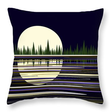 Throw Pillow featuring the digital art Moon Lit Water by Val Arie