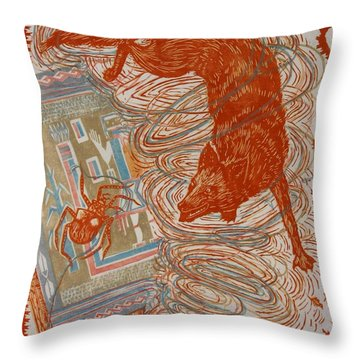 Throw Pillow featuring the drawing Moon Of Changing Leaves by Dawn Senior-Trask