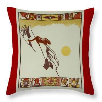 Throw Pillow featuring the drawing Moon Of Red Chokecherries by Dawn Senior-Trask