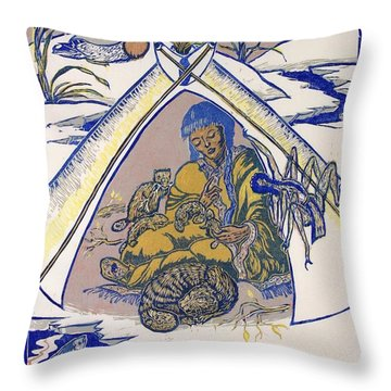 Throw Pillow featuring the drawing Moon Of The Deep Sleep by Dawn Senior-Trask