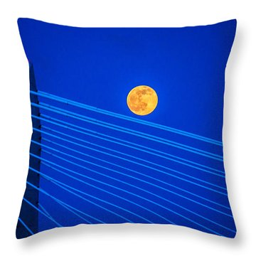 Moon Over A Bridge Throw Pillow