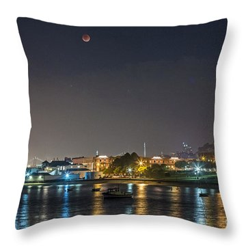 Moon Over Aquatic Park Throw Pillow