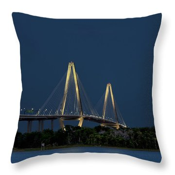 Throw Pillow featuring the photograph Moon Over Arthur Ravenel Jr. Bridge by Ken Barrett