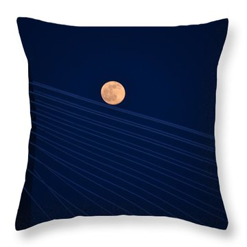 Moon Over Bridge Throw Pillow