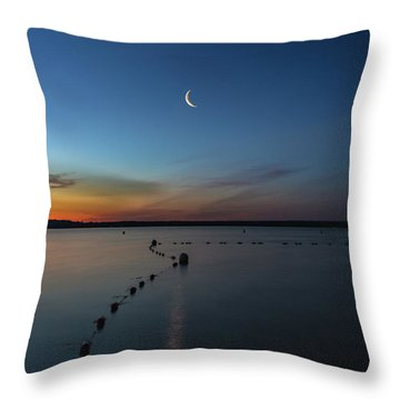 Moon Over Cayuga Throw Pillow
