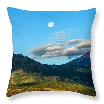 Moon Over Electric Mountain Throw Pillow