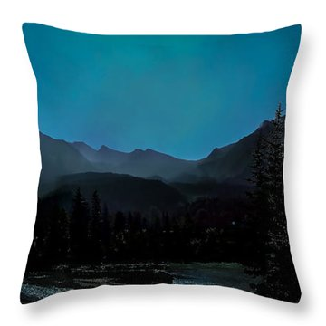 Moon Over Field Bc Throw Pillow