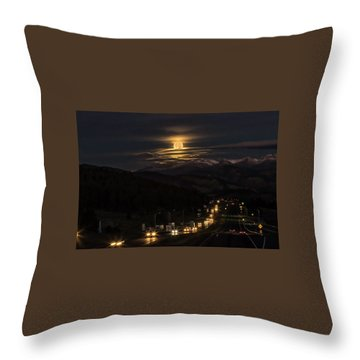 Moon Over Genessee Throw Pillow by Kristal Kraft