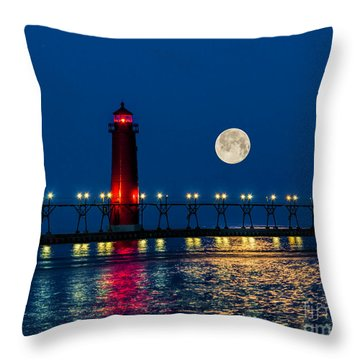 Moon Over Grand Haven Throw Pillow