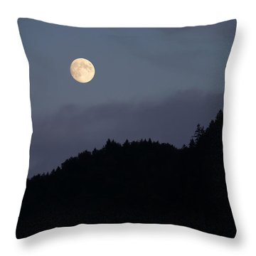 Throw Pillow featuring the photograph Moon Over Hill by Menega Sabidussi
