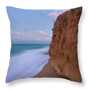 Moon Over Hutchinson Island Beach Throw Pillow by Justin Kelefas