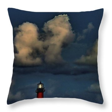 Moon Over Lighthouse Throw Pillow