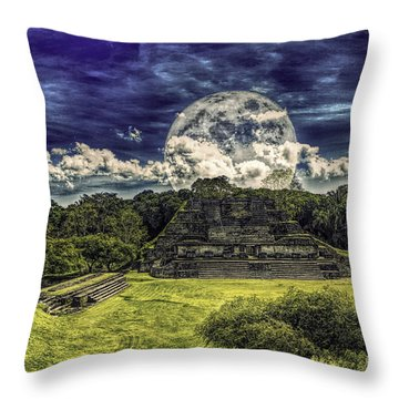 Moon Over Mayan Temple Two Throw Pillow