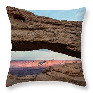 Moon Over Mesa Arch Throw Pillow
