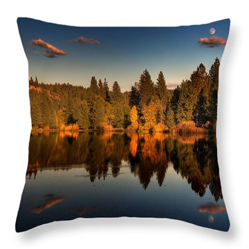 Moon Over Mill Pond Throw Pillow by Mick Burkey